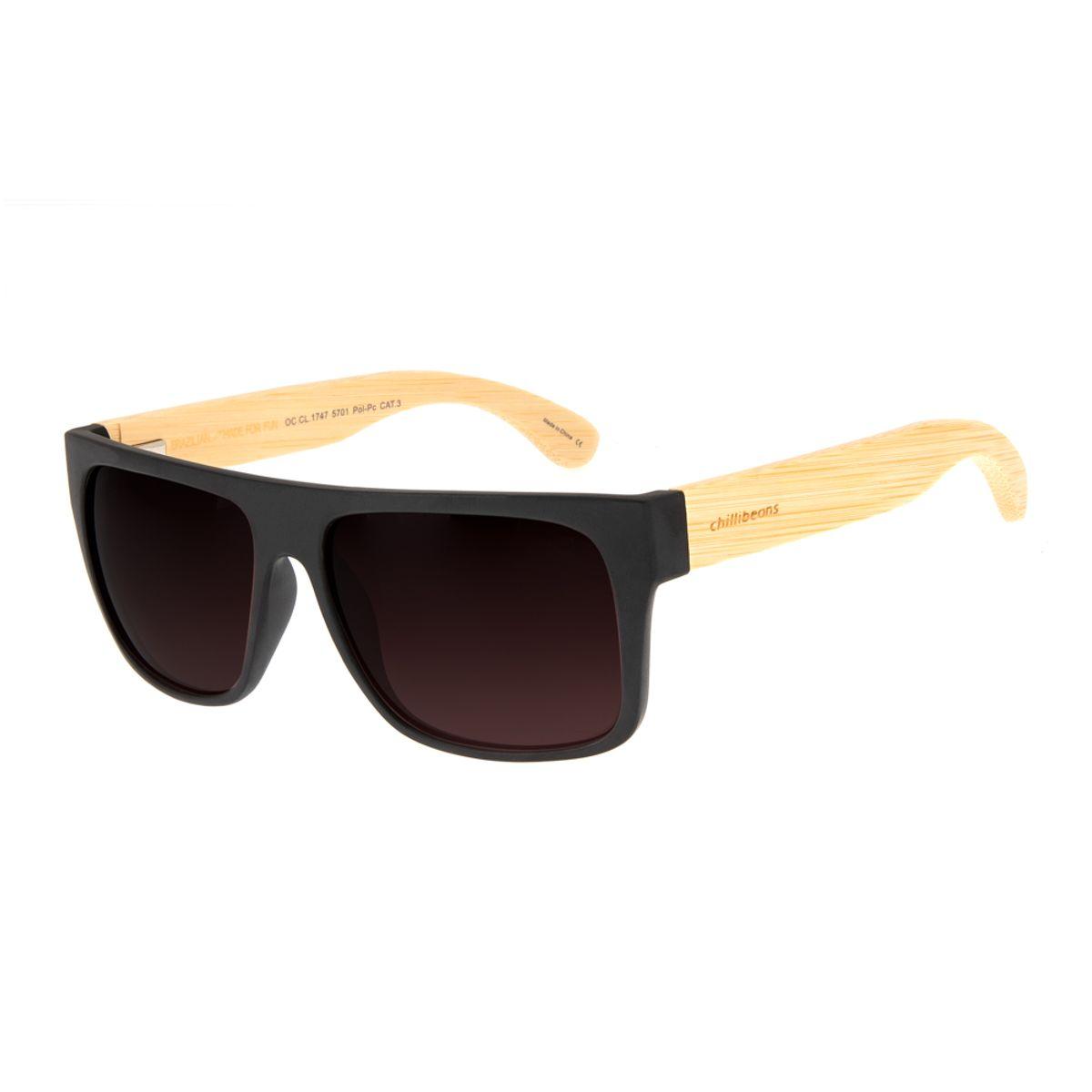 70d9239b7 Óculos de Sol Masculino Chilli Beans Haste de Bambu Degradê Marrom ...