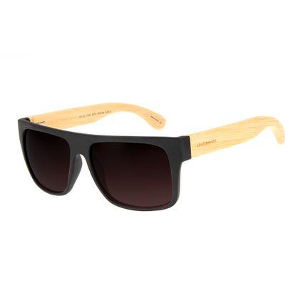 Óculos de Sol Masculino Chilli Beans Haste de Bambu Degradê Marrom Polarizado