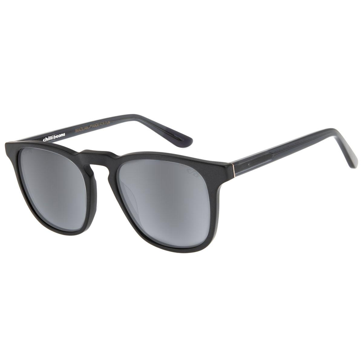 cf7a96674 Óculos de Sol Bossa Nova Unissex Chilli Beans Blk Flash Polarizado ...