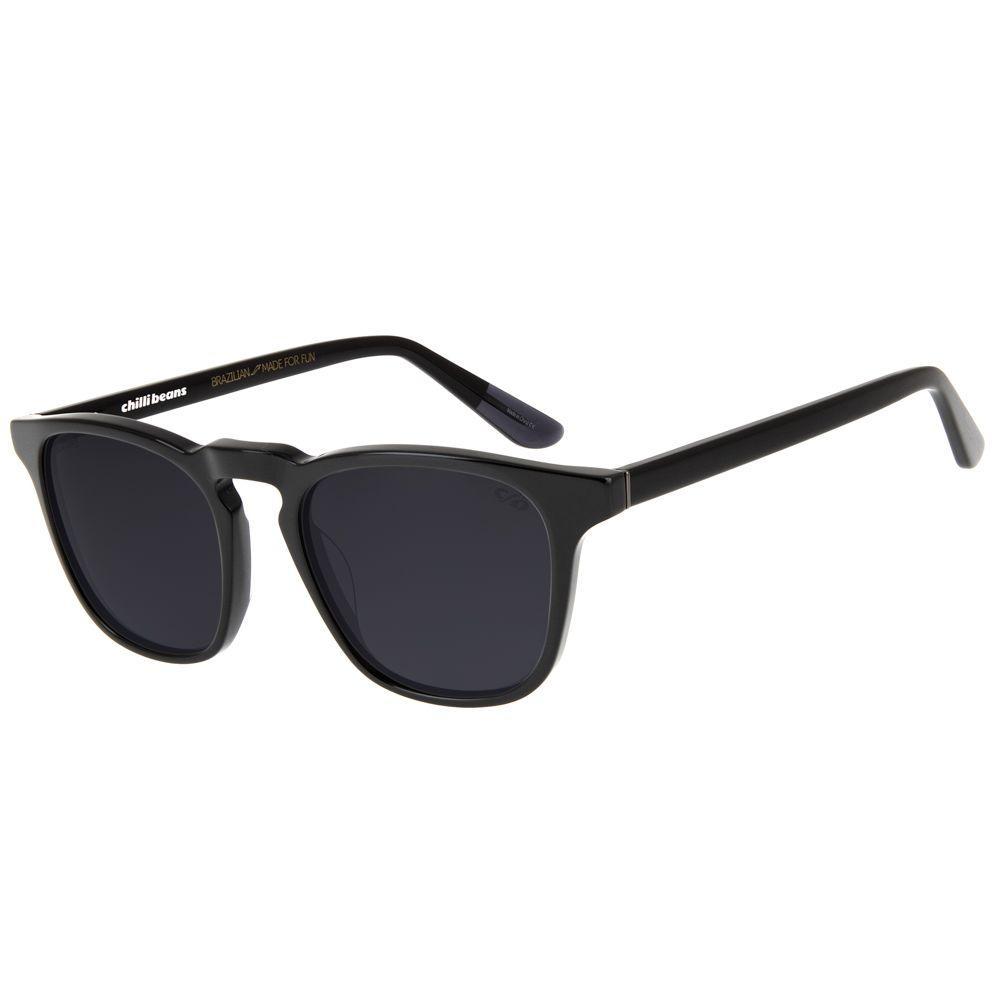 oculos de sol bossa nova unissex chilli beans blk cinza polarizado 2757 0401