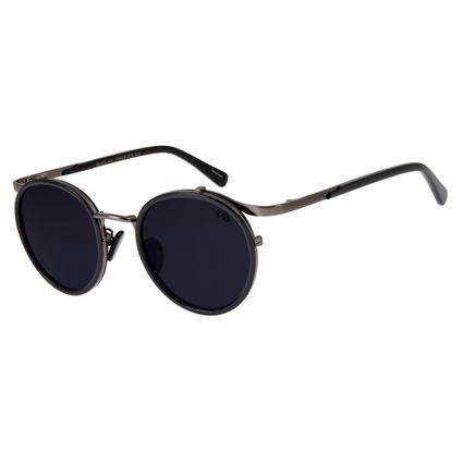oculos de sol redondo unissex chilli beans blk metal cinza 2637 0422