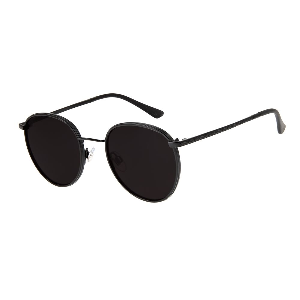Óculos de Sol Redondo Unissex Chilli Beans Blk Metal Life Preto OC.MT.2643-0101