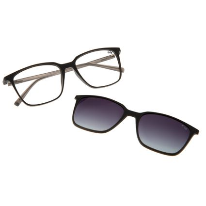armacao para oculos de grau chilli beans multi 2 em 1 clip on polarizado cinza 0183 2028