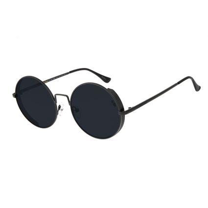 oculos de sol chilli beans unissex redondo metal steampunk fosco 2601 0131