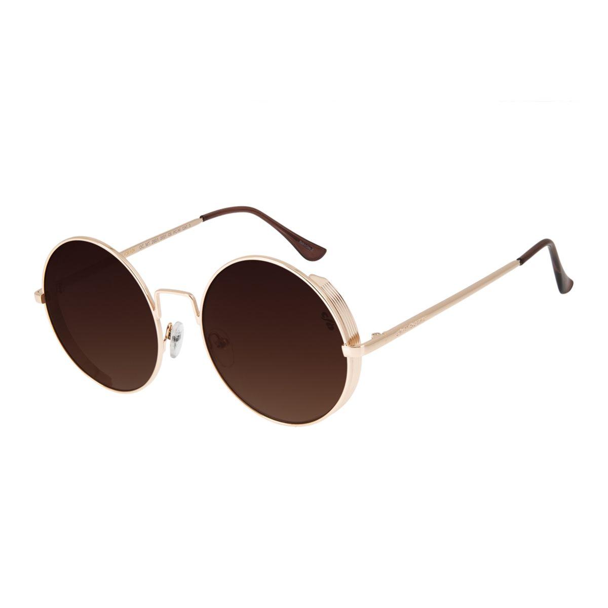 643cf1766 Óculos de Sol Chilli Beans Unissex Redondo Metal Steampunk Dourado ...