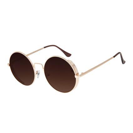 oculos de sol chilli beans unissex redondo metal steampunk dourado 2601 2021