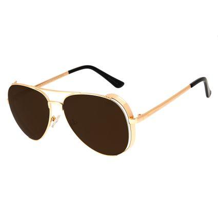 oculos de sol chilli beans unissex aviador steampunk metal dourado 2620 0221