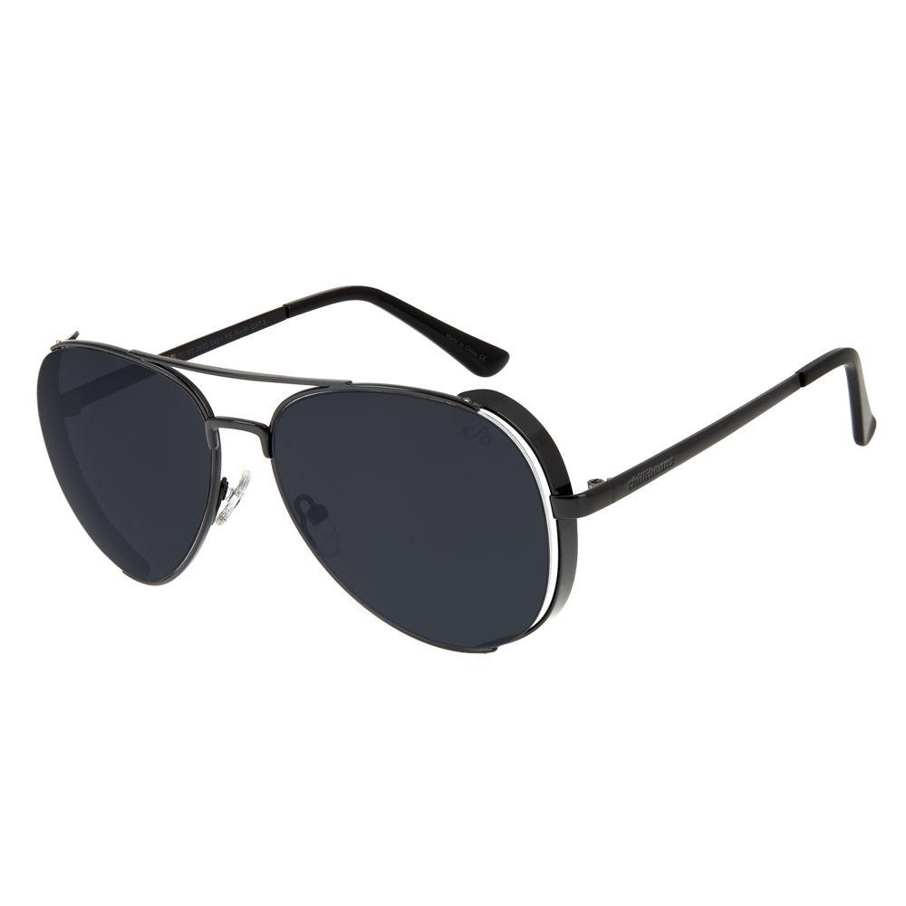 oculos de sol chilli beans unissex aviador steampunk metal preto 2620 0401