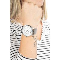Relógio Analógico Feminino Lady Like Floral Metal Prata RE.MT.0845-0707.4