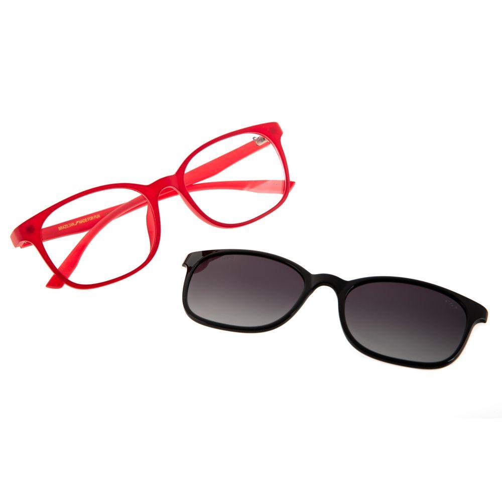 Armação para Óculos de Grau Chilli Beans Feminino Multi 2 em 1 Polarizado Vermelho LV.MU.0071-2016
