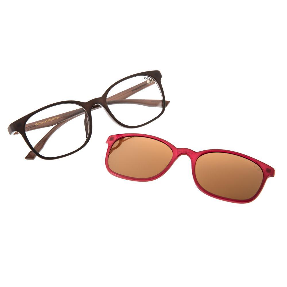 Armação Para Óculos de Grau Chilli Beans Feminino Multi 2 em 1 Polarizado Marrom LV.MU.0071-2102