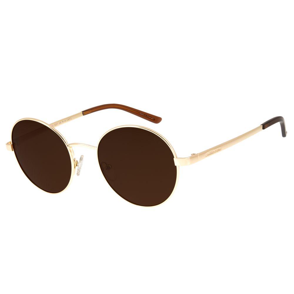 1360deb29 Óculos de Sol Chilli Beans Unissex Redondo Metal Marrom - OC.MT.2632.0221 M