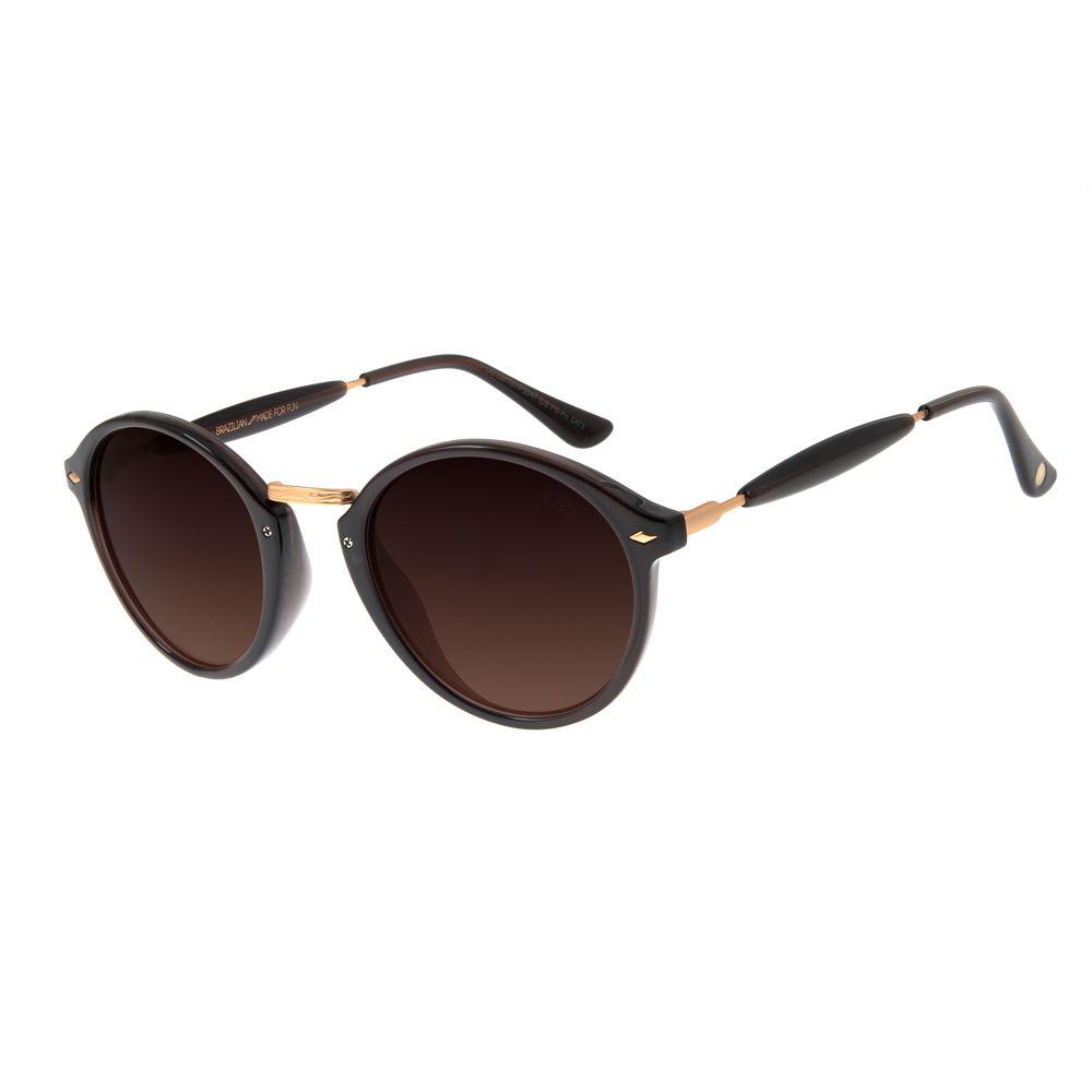 Óculos De Sol Chilli Beans Retrô Redondo Marrom Escuro Unissex OC.CL.1677-2047