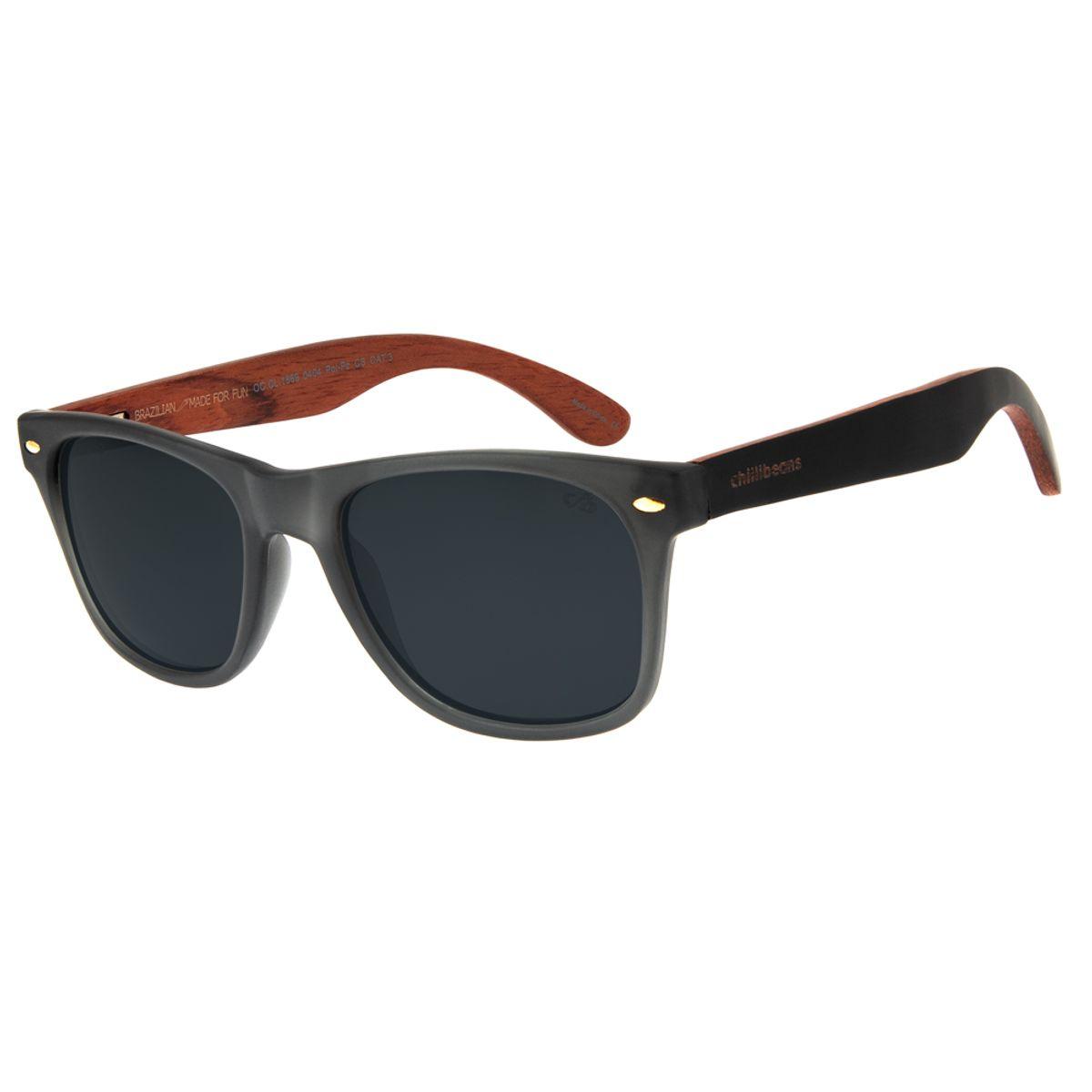 914365ba6 Óculos de Sol Chilli Beans Masculino Polarizado Haste Madeira Cinza ...