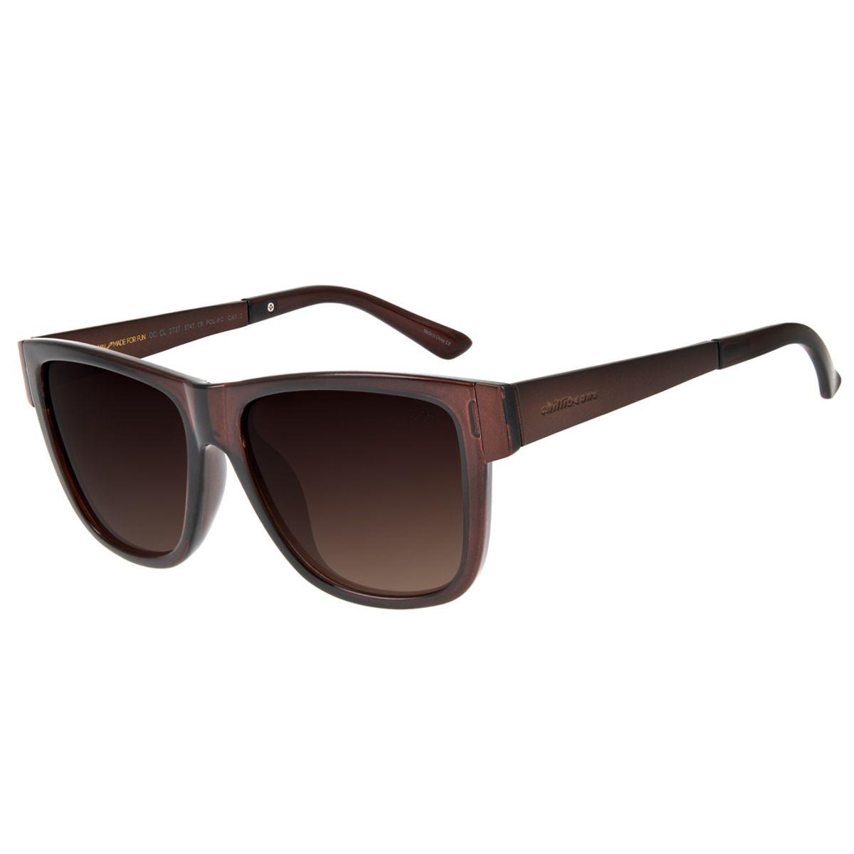 288136986 Óculos de Sol Chilli Beans Feminino Quadrado Polarizado Marrom ...