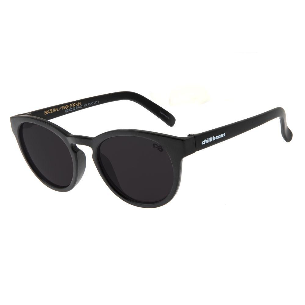 Óculos de Sol Infantil Chilli Beans Redondo Preto OC.KD.0530-0101