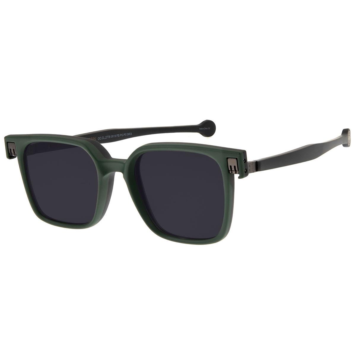 113da8648 Óculos de Sol Unissex Chilli Beans 2 em 1 Reverse Quadrado Verde ...