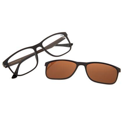 b7bef109f Armação Para Óculos de Grau Masculino Chilli Beans 2 em 1 Multi Quadrado  Marrom Polarizado R$ 379,98 ou 4x de R$ 94,99 Ver detalhes