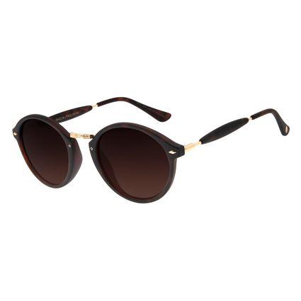 Óculos De Sol Unissex Chilli Beans Redondo Marrom Tartaruga OC.CL.1677-5706