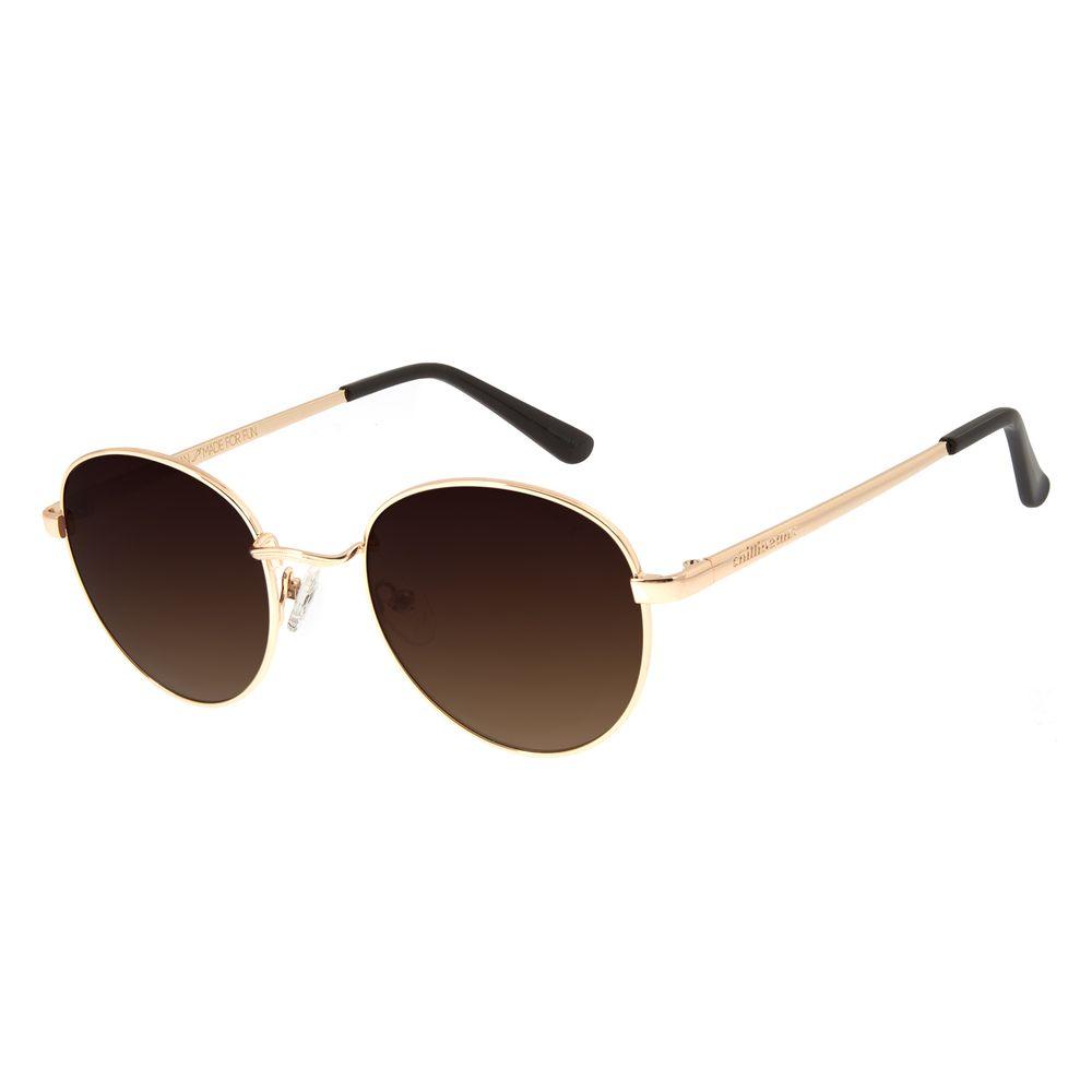Óculos de Sol Unissex Chilli Beans Redondo Dourado OC.MT.2517-5721
