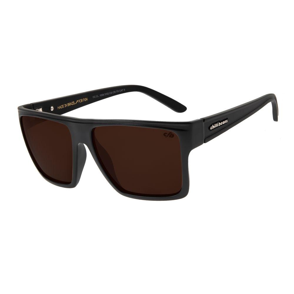 Óculos de Sol Unissex Chilli Beans Fosco Quadrado Marrom OC.CL.1058-3102