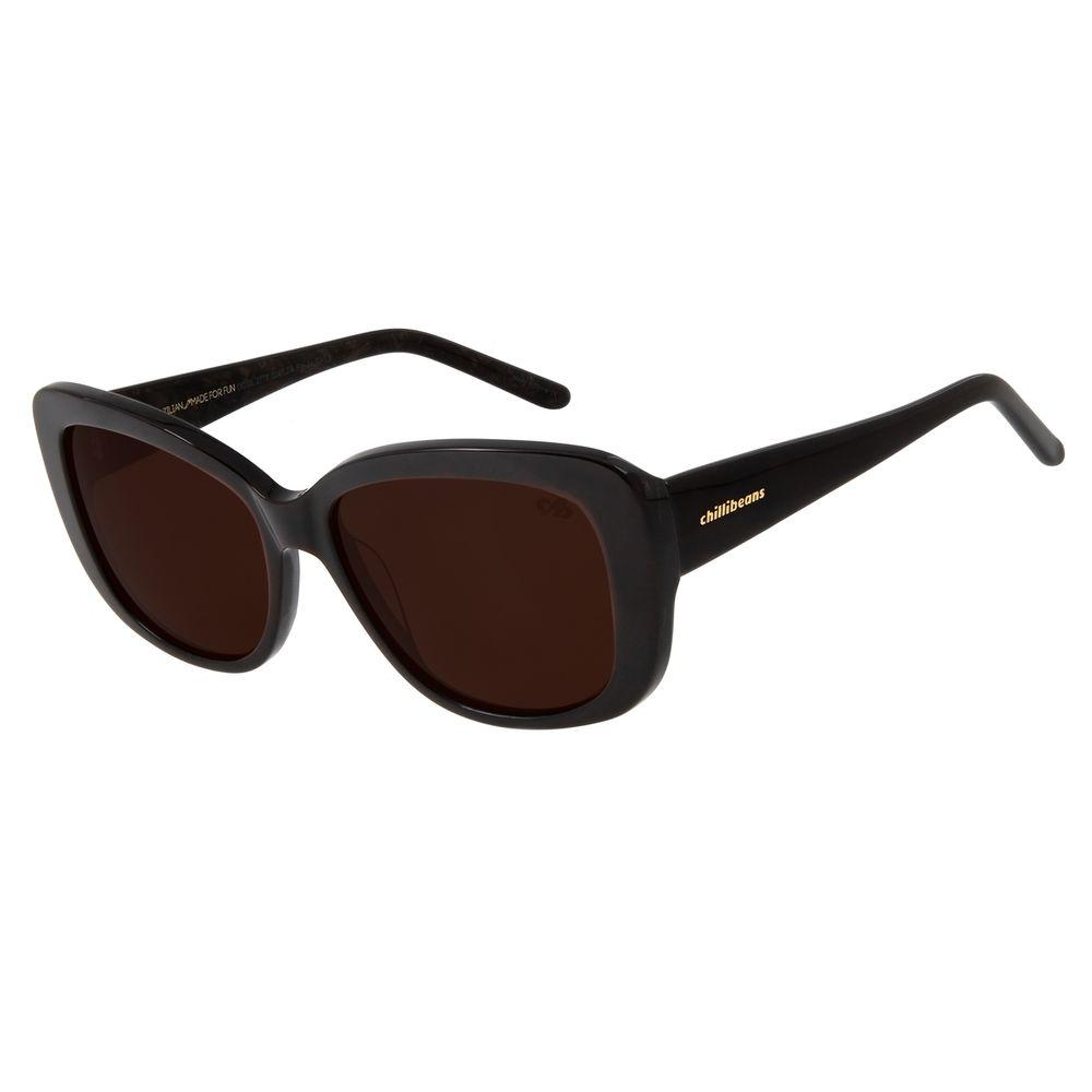 Óculos De Sol Feminino Chilli Beans Oversized Marrom Escuro OC.CL.2776-0247