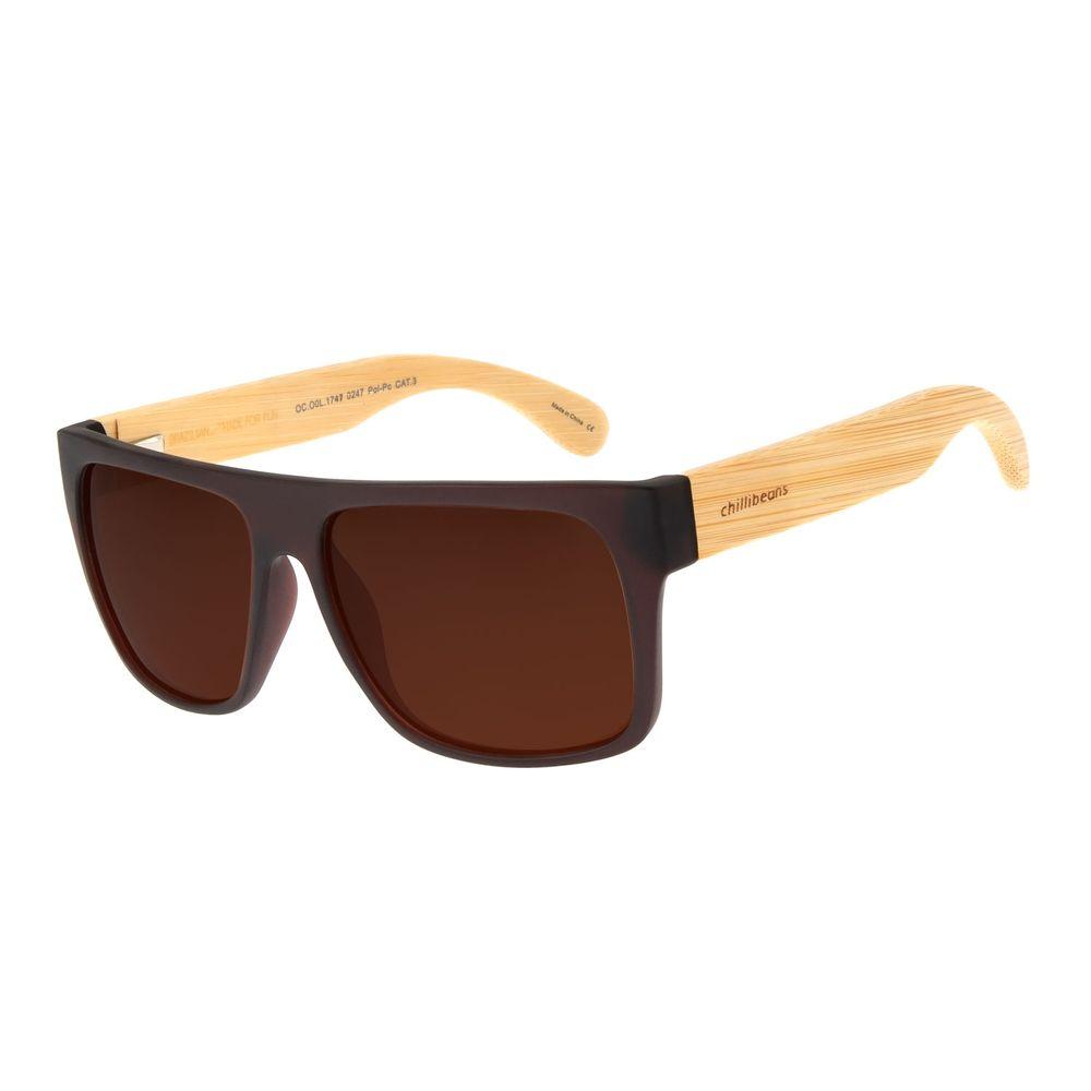 Óculos De Sol Masculino Chilli Beans Quadrado Marrom Escuro OC.CL.1747-0247