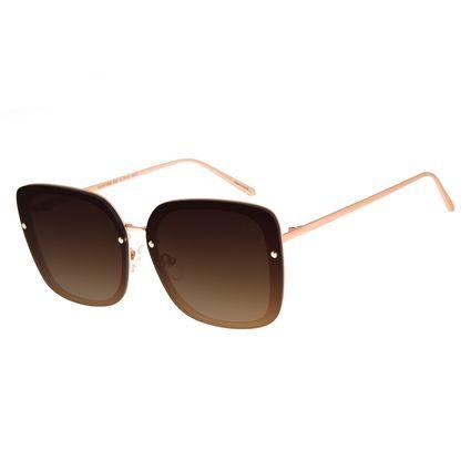 Óculos de Sol Feminino Chilli Beans Quadrado Maxi Metal Degradê Marrom OC.MT.2665-5795