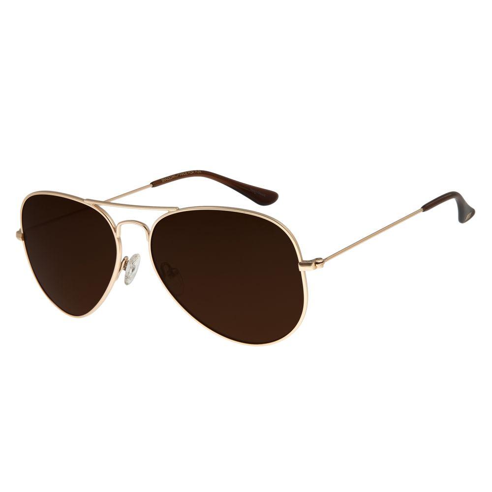 Óculos De Sol Unissex Chilli Beans Aviador Dourado OC.MT.2513-0221