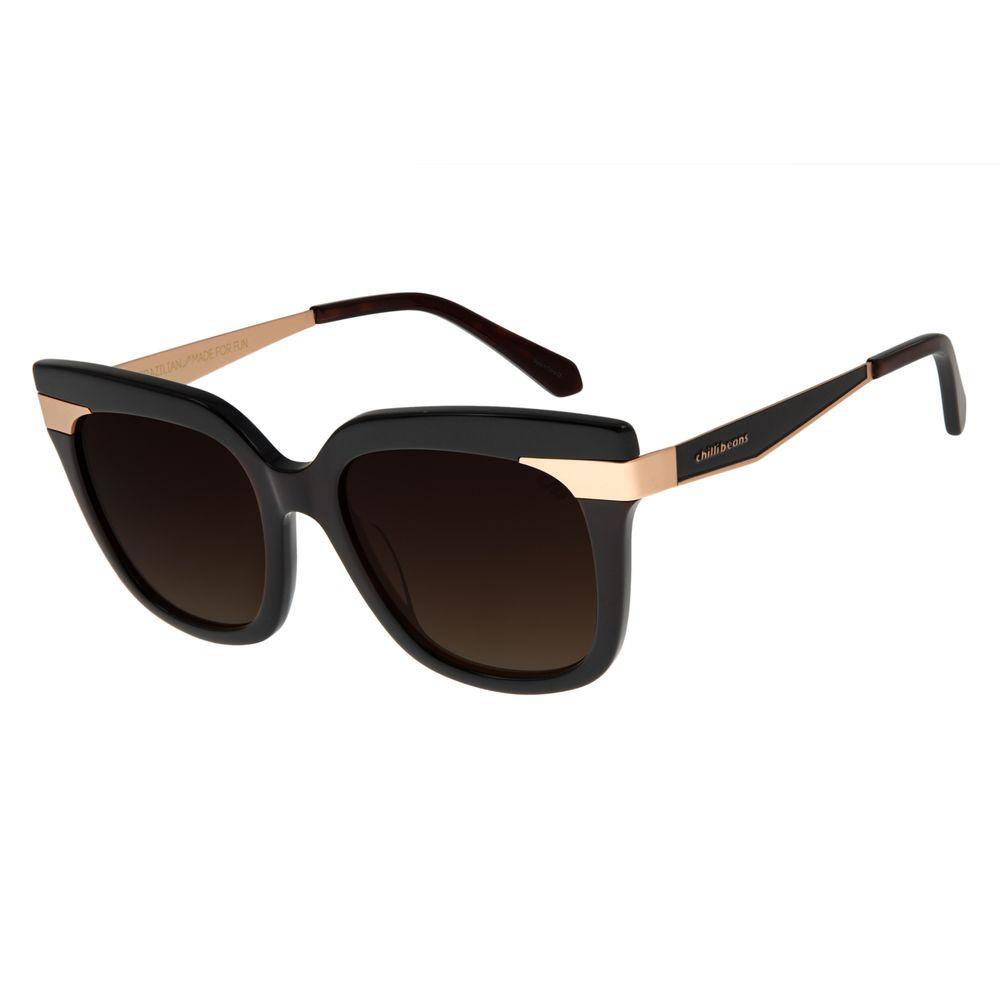 Óculos De Sol Feminino Chilli Beans Quadrado Preto OC.CL.2815-5701