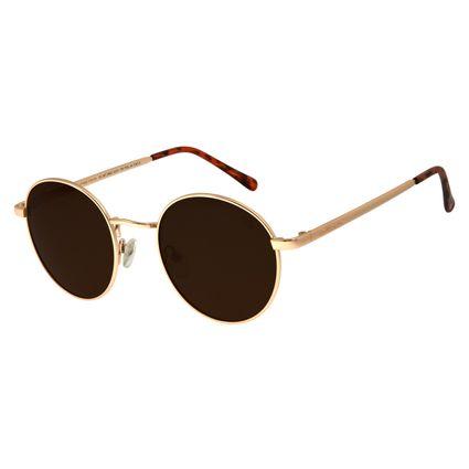 Óculos De Sol Unissex Chilli Beans Redondo Dourado OC.MT.2663-0221