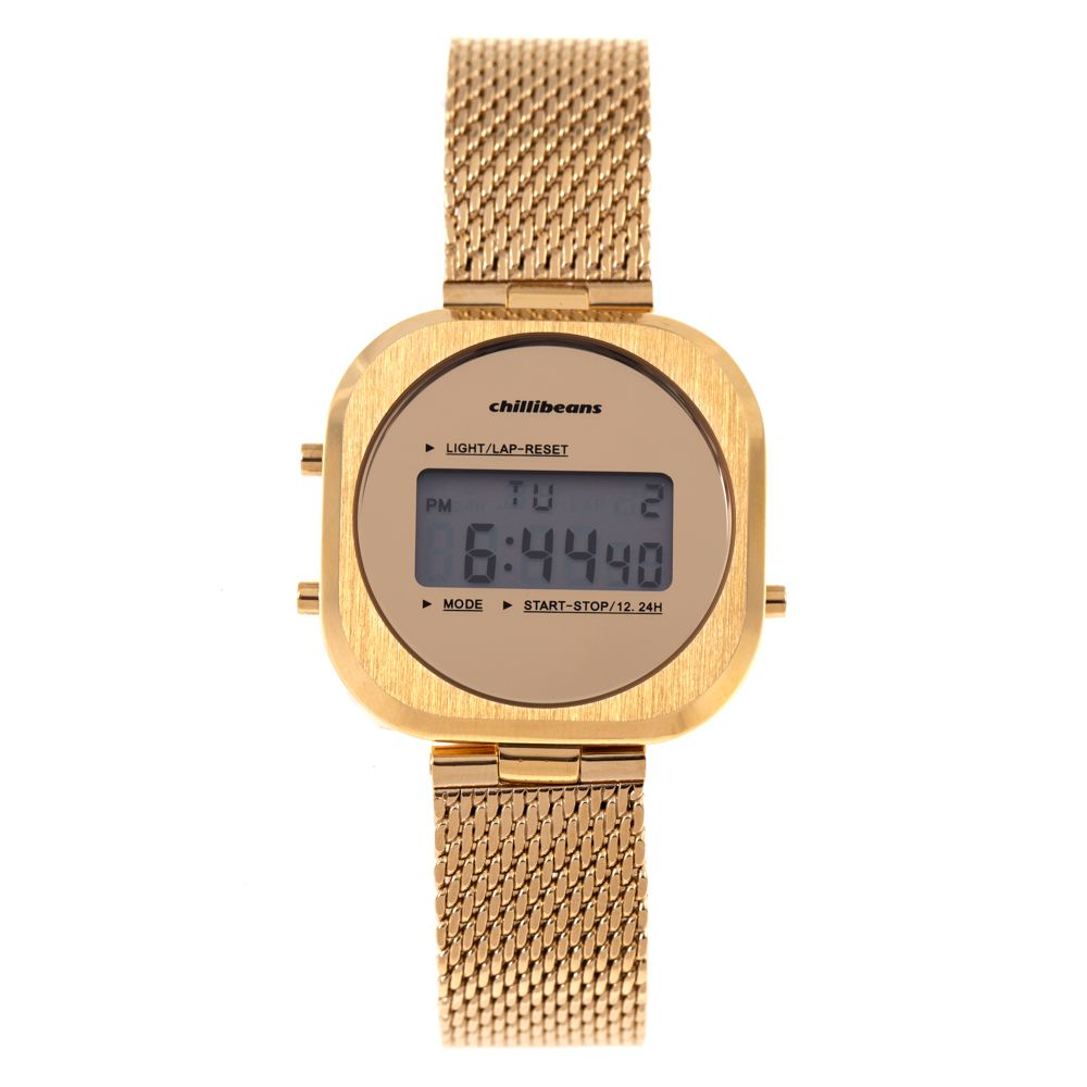 Relógio Digital Feminino Chilli Beans Metal Dourado RE.MT.0907-2121.1