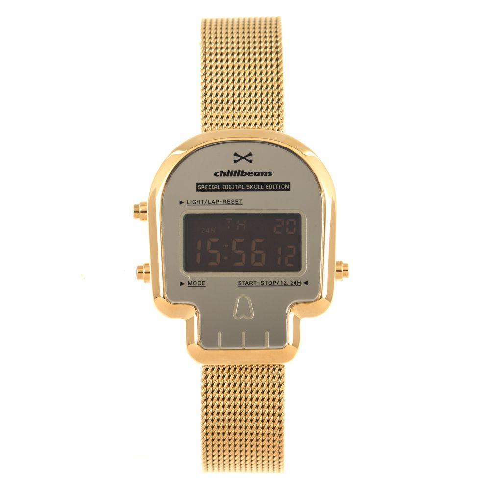Relógio Digital Feminino Chilli Beans Caveira Dourado RE.MT.0961-2121