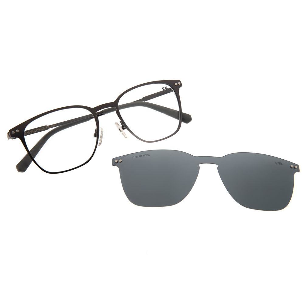 Armação Para Óculos De Grau Masculino Multi Quadrado Grafite LV.MU.0211-0124