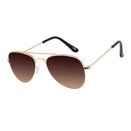 Óculos De Sol Infantil Chilli Beans Aviador Dourado OC.KD.0586-2021