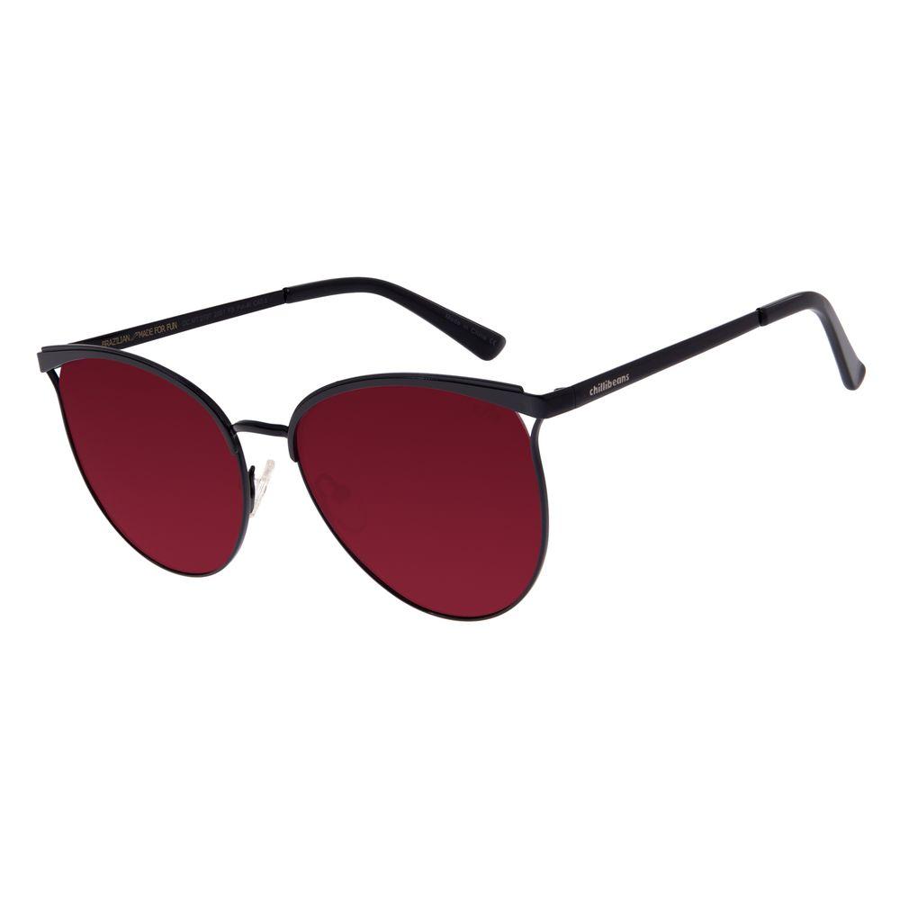 Óculos De Sol Feminino Chilli Beans Redondo Preto  OC.MT.2707-2001