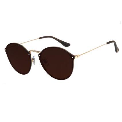 Óculos De Sol Feminino Chilli Beans Redondo Dourado Fine Lines OC.MT.2740-0221
