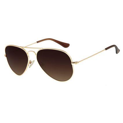 Óculos De Sol Unissex Chilli Beans Aviador Dourado OC.MT.2511-5721