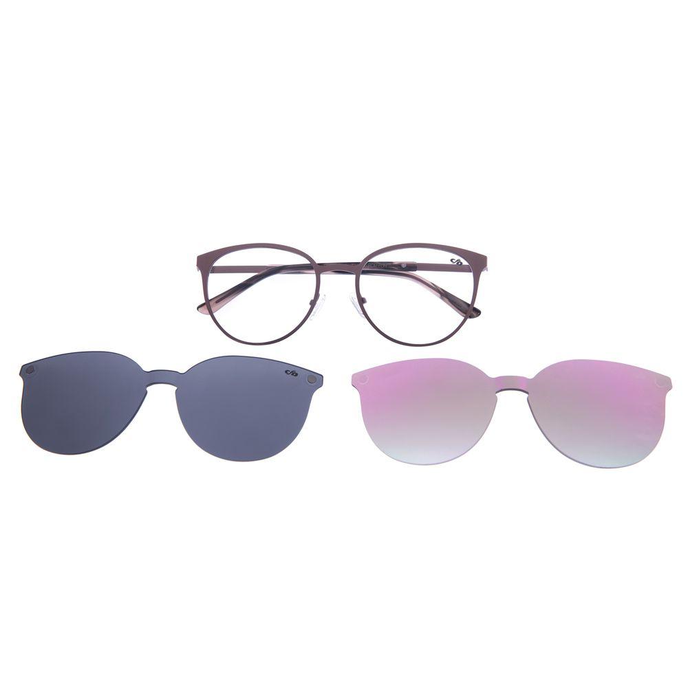 Armação Para Óculos De Grau Feminino Multi 2 em 1 Marrom Escuro LV.MU.0271-4747