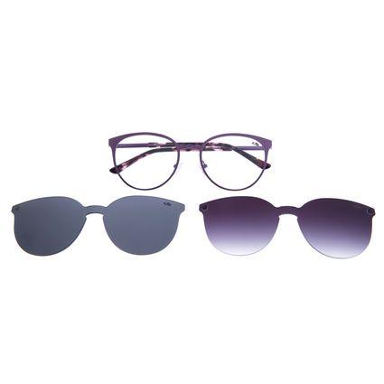 Armação Para Óculos De Grau Feminino Multi 2 em 1 Roxo LV.MU.0271-1414