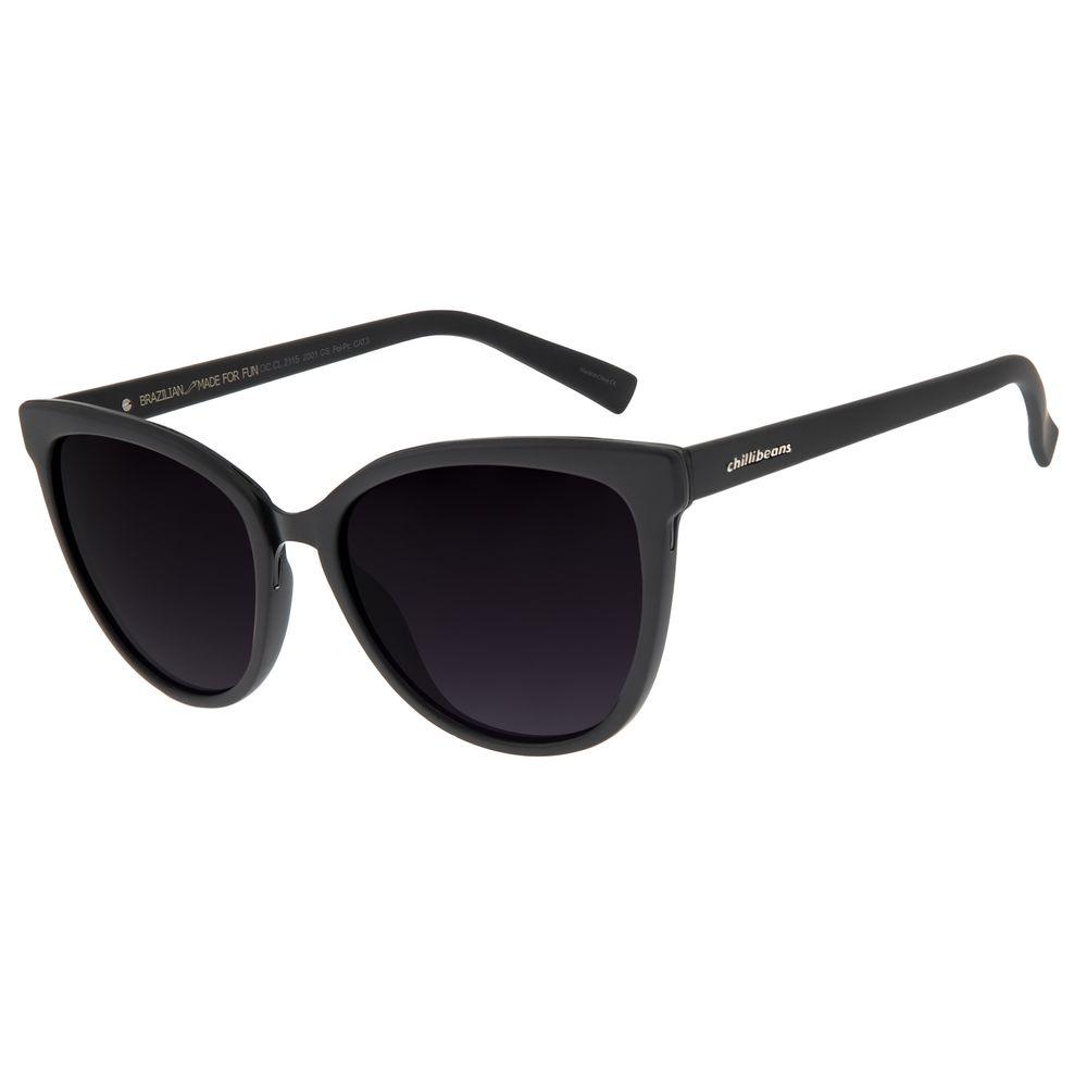 Óculos de Sol Feminino Chilli Beans Redondo Polarizado Preto OC.CL.2115-2001