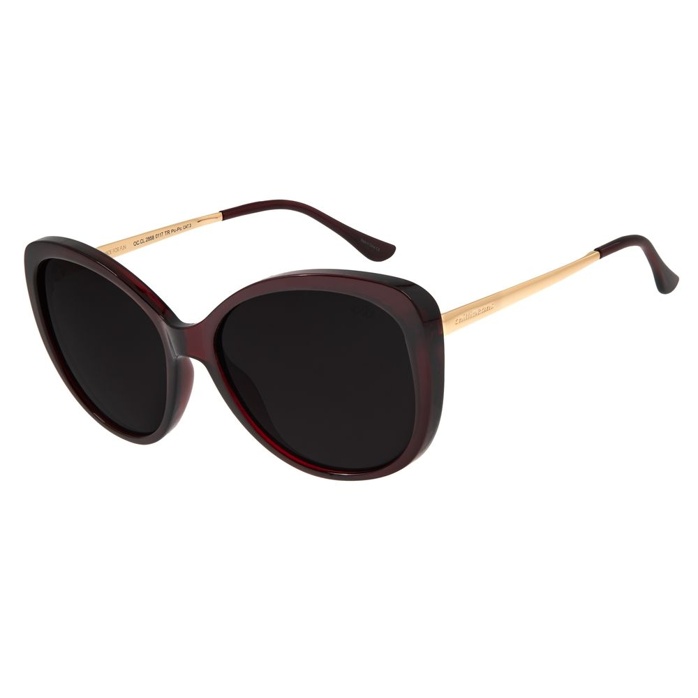 Óculos de Sol Feminino Chilli Beans Redondo Maxi Vinho OC.CL.2858-0117