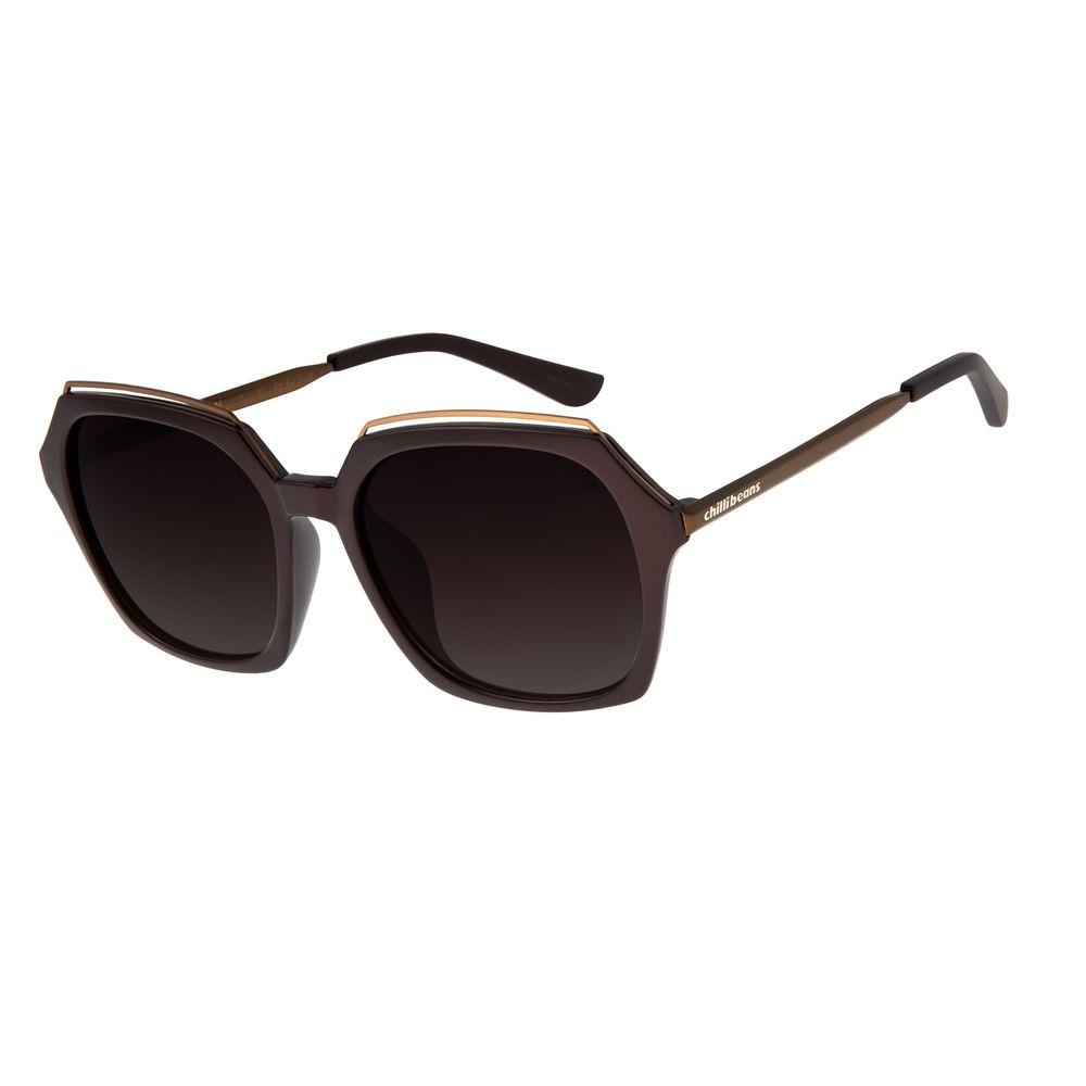Óculos de Sol Feminino Chilli Beans Quadrado Marrom  OC.CL.2875-2002