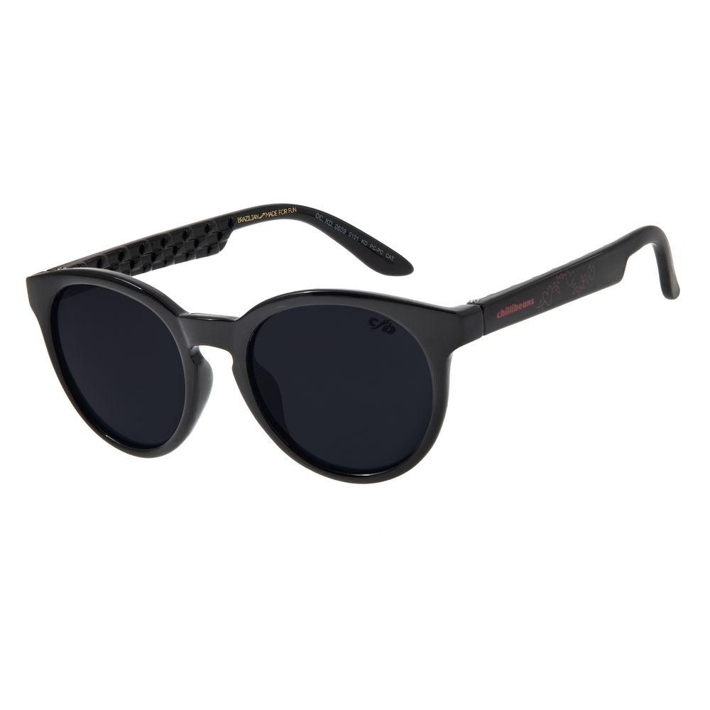 Óculos de Sol Infantil Chilli Beans Redondo Preto  OC.KD.0609-0101
