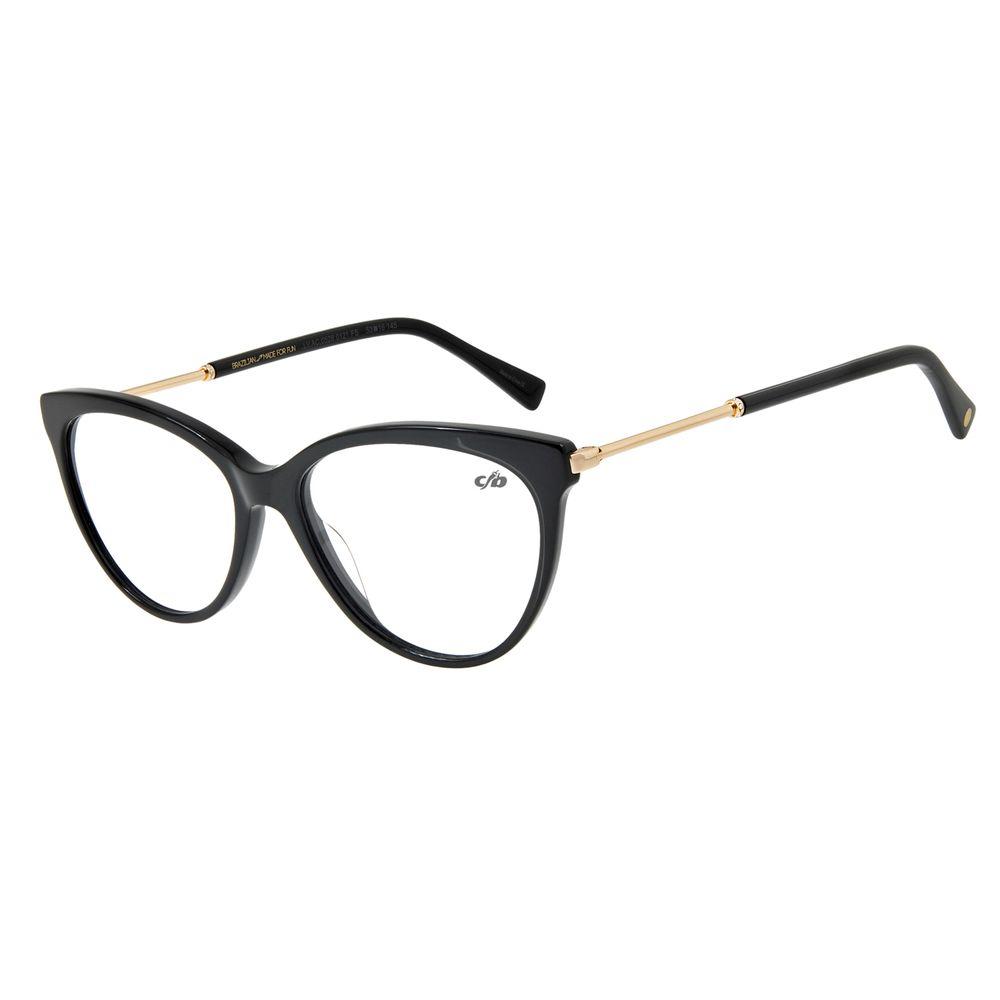 Armação Para Óculos De Grau Feminino Gatinho Preto LV.AC.0528-0121