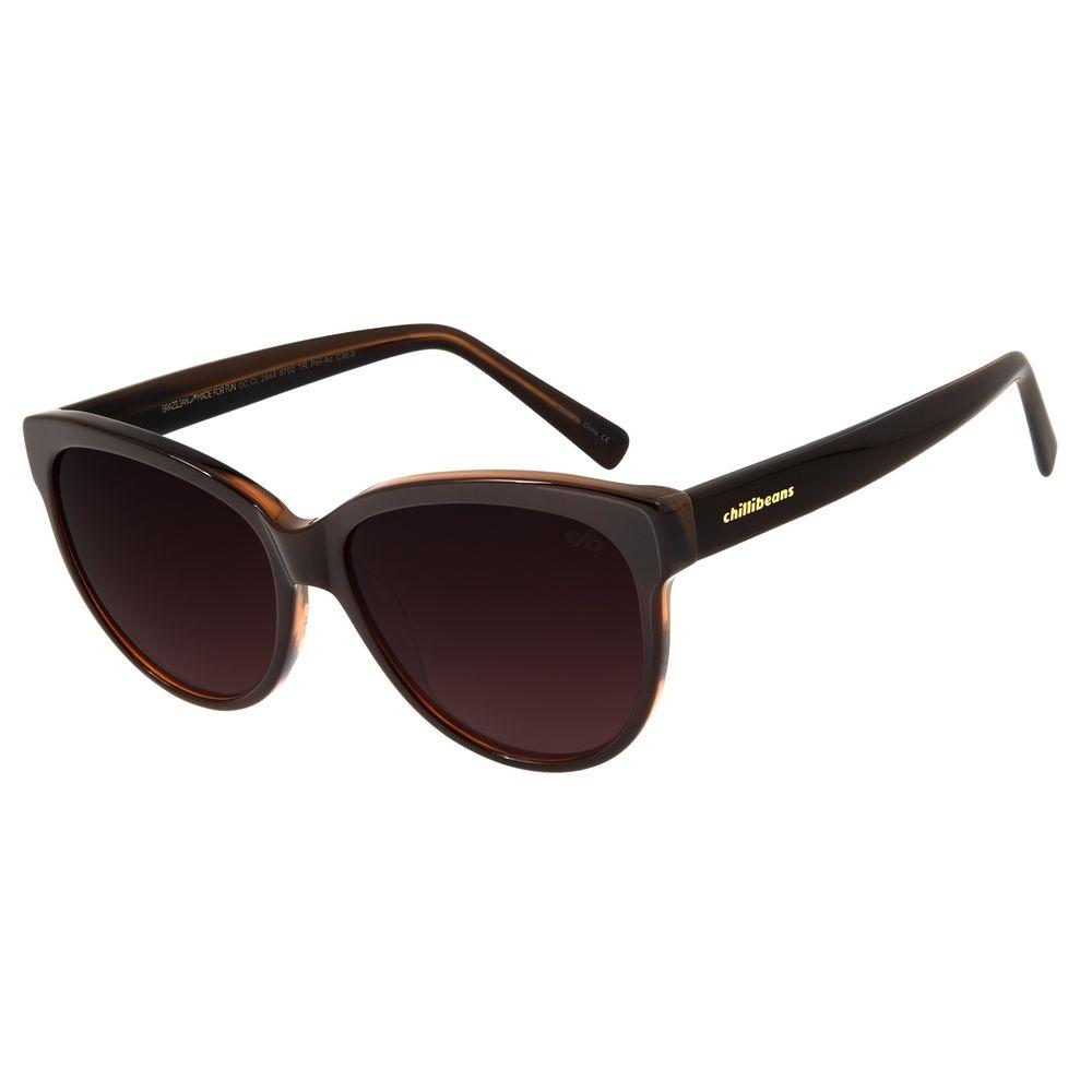 Óculos De Sol Feminino Chilli Beans Redondo Polarizado Marrom OC.CL.2844-5702