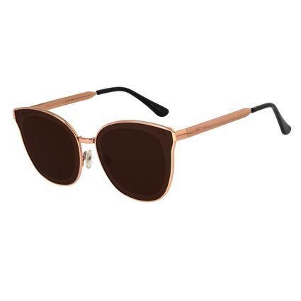 Óculos de Sol Feminino Chilli Beans Quadrado Metal Marrom Escuro OC.MT.2664-0247