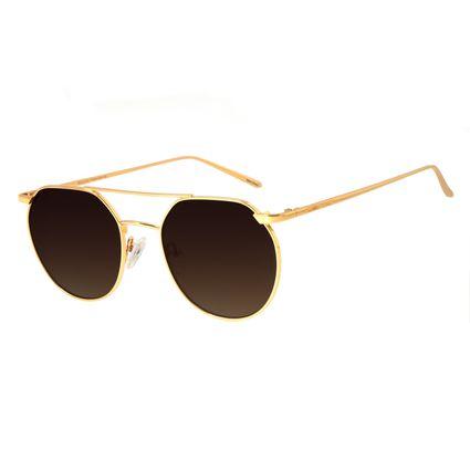 Óculos de Sol Unissex Chilli Beans Redondo Metal Dourado OC.MT.2685-5721