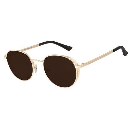 Óculos de Sol Unissex Chilli Beans Redondo Metal Dourado OC.MT.2716-0221