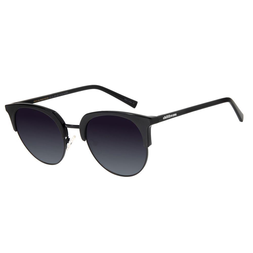 Óculos De Sol Feminino Chilli Beans Quadrado Preto Polarizado OC.CL.2845-2001